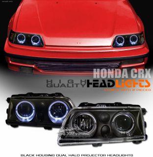 88 89 Honda CRX CR x Civic JDM Black 2X Halo Projector Headlights