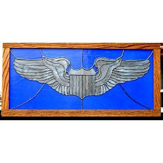 Stained Glass Air Force Pilot Wings Framed in Oak Ready to