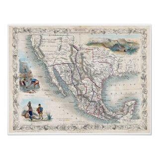 Map of Mexico Texas California   Tallis 1851 Print