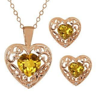 68 Ct Heart Shape Yellow Citrine Gemstone 14k Rose Gold Pendant