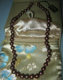 HONORA PEARLS 14CT GOLD BIG 9MM CHOCOLATE CULTURED FRESHWATER PEARL