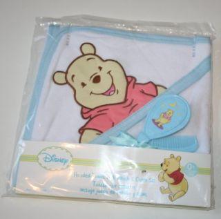 Disney Winnie the Pooh Hooded Bath Towel & Brush & Comb Set   Blue