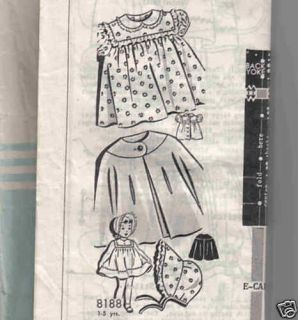1949 Pattern Red Riding Hood Cape Coat Hat Dress Size 2