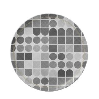 Retro Black & White Geometric Pattern Party Plates