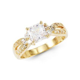 Engagment Ring CZ Cubic Zirconia Princess Solitaire 14k Yellow Gold