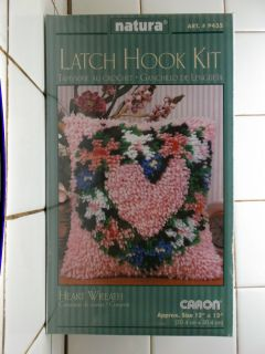 Latch Hook Kit or Latch Hook Rug Heart Wreath by Caron Size 12 x 12