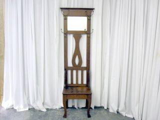 Country Style Golden Oak Hall Tree w Hooks Mirror Seat Storage