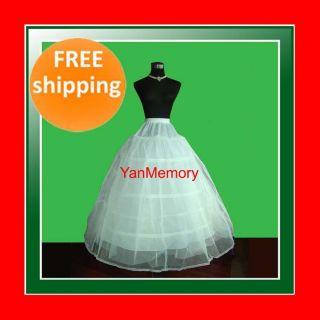 White 3 Hoop Net Tulle Petticoat Underskirt Fancy Dress Stage