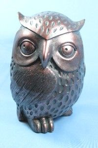 New Wise Hoot Owl Bronze Look Statue Figurine Sculpture 9