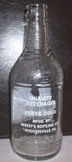 Quality Soft Drinks Berkeys Bottling Co Hooversville PA 12 Oz ACL