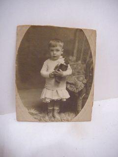Vintage Antique Photographlittle Girl Steiff Teddy Bear Early 1900S