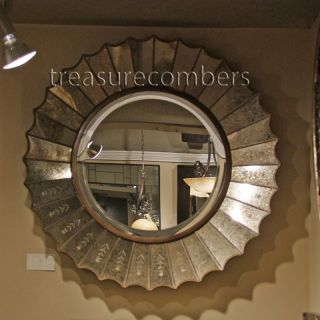 Antiqued Etched Round Gold Leaf Wall Mirror Horchow