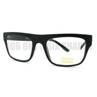 Black Nerdy Square Rectangular Horn Rimmed Clear Lens Glasses New
