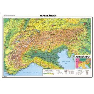 NEW MAP! XXL   71 Inches   Original Relief Alpine Lands Physical Map
