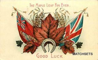 1908 Canada Flag Union Jack Good Luck Horse Shoe Postcard