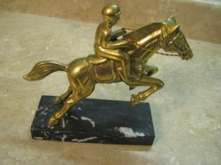 RACE HORSE & JOCKEY Brass Sculpture Marble Base STATUE/ART/FIGURE