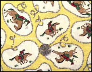 Western Cowboy Rodeo Horse Lasso Rope Fabric 1 2 Yd