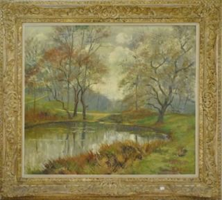 Antique Belgian Cityscape Impressionist Oil Painting Signed Paule