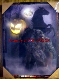 12 X 8.5   LITE UP HEADLESS HORSEMAN PORTRAIT PICTURE HALLOWEEN PROP