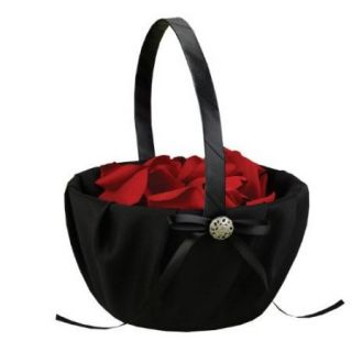 New Black Satin Midnight Rendevous Wedding Flower Girl Basket Free