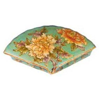 Hand painted chinese fan shaped porcelain trinket box with