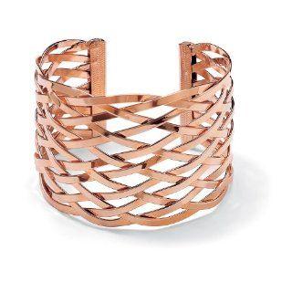 PalmBeach Jewelry Lattice Cuff Bracelet in 14k Rose Gold Plated