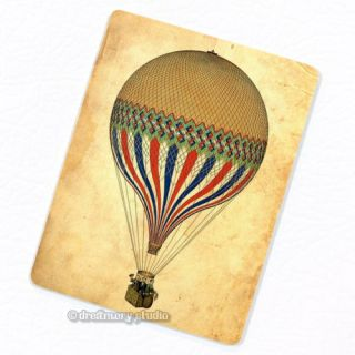 Yellow Hot Air Balloon Deco Magnet; Aircraft Sky Transportation Flying