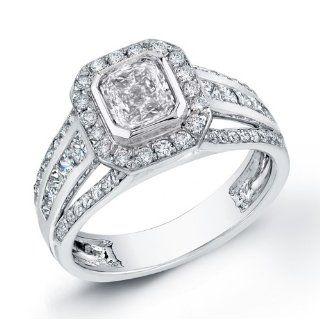 1.79 Ct. Radiant Cut Diamond Engagement Ring Bezel Set D
