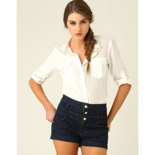 Sale Navy Blue Denim Jeans Button High Waist Shorts Hotpants M