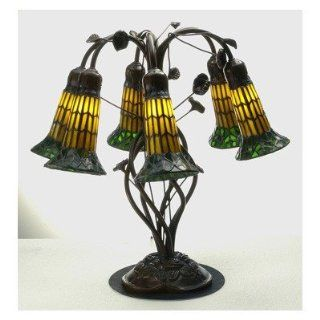 Tiffany Pond Lily Amber and Green Six Light Table Lamp