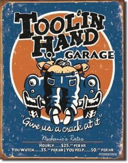 Hand Mechanic Shop Garage Hourly Service Rate Funny Metal Tin Sign USA