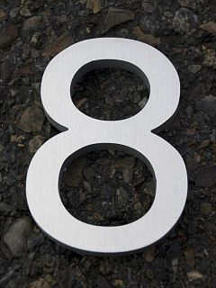 Modern House Number Aluminum Helvetica Font Eight 8