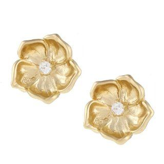 Kate Bissett Goldtone White Cubic Zirconia Floral Earrings Jewelry