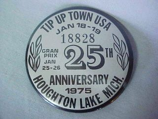 USA Pinback Button Ice Fishing License Badge Houghton Lake Mich