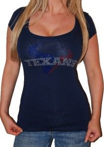 Sexy Houston Texans Low Cut Football Bejeweled Bling Rhinestone T