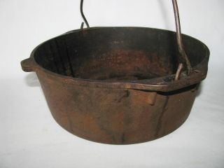 Antique do Hanging Cast Iron Kettle Cauldron Cook Pot