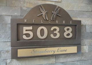 Craftsman Dragonfly House Numbers Name Plate Address Plaque Set Bronze