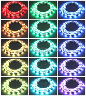 5M 5050 RGB LED Light Strip 24 Key IR Remote 60W Power Supply