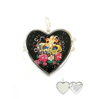 Fashion Jewelry ~ Heart Locket Hook Pendant with Crown and
