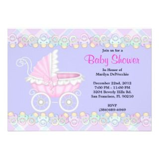 CUTE Sweet Carriage Baby Shower Invitations