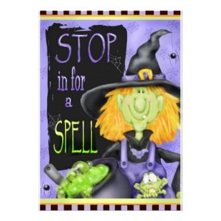 Halloween Frog Witch Birthday Party Invitation