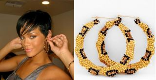 Bamboo Rhinestone Hoop Earrings Basketball Wives Poparazzi