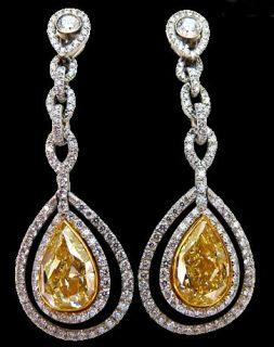 Yellow Canary Pear Cut Diamonds 6 Ct Dangle Earrings
