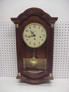 Vintage Howard Miller Pembrook Wall Clock Wood Case Key Wind