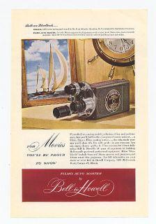 1948 Bell Howell Filmo Auto Master Camera Sailboat Ad
