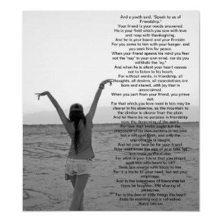 Friendship by Kahlil Gibran Poster