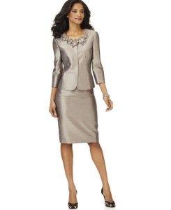 Kasper Champagne Gold Floral Collar Jacket Skirt Suit Petite Size 14P