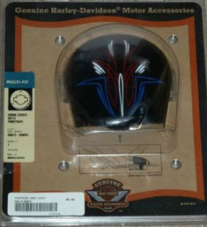 Harley Davidson 69012 05BVC Black Horn Cover With Red, White and Blue