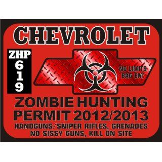 Chevrolet Zombie Hunting Permit Window Decal Everything