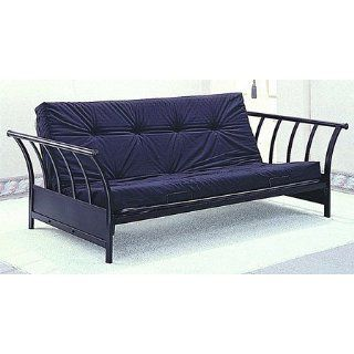 Black Finish Metal Flat Tubing Sleigh Design Futon Sofa
